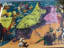CARTE TOURISTIQUE  DU MAROC AVEC AU VERSO LES PRODUCTIONS AFFERENTES - Maps