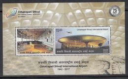 INDIA 2017, MS, Chhatrapati Shivaji International Airport, Aircraft,  Miniature Sheet With 2v, MNH(**) - Ongebruikt