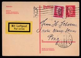 DR Ganzsache P182 Als Auslands Luftpostkarte 1929 Gelaufen Dortmund Nach Prag K1078 - Deutschland