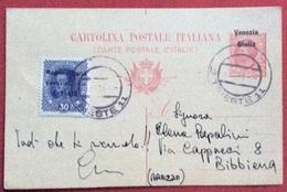 CARTOLINA POSTALE VENEZIA GIULIA LEONI 10 C.( STAMPA IN ALTO) + 30 H. AUSTRIA SOVRASTAMPATO DA TRIESTE A BIBBIENA - 1900-44 Vittorio Emanuele III