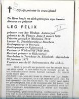 DPMM/ ° ST.PIETERS JETTE 1886 + TURNHOUT 1973  E.H.LEO FELIX PASTOR BEERSEL RIJKEVORSEL WIEKEVORST RIJKEVORSEL - Religion & Esotericism