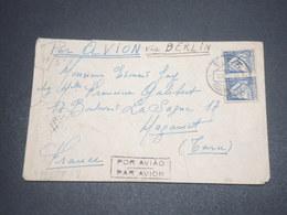 PORTUGAL - Enveloppe De Figueira Pour La France En 1944 Par Avion Avec Contrôle Postal -  L 12651 - 1910-... République