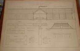 Plan D'une Cantine Et D'un Dortoir Pour 50 Ouvriers En Campagne. 1859 - Public Works