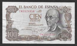 ESPAGNE  - Billet De 100 Pesetas  De 1970 - [ 3] 1936-1975 : Regency Of Franco