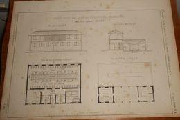 Plan D'un Lavoir Pour 26 Laveuses Et Bains De 4 Baignoires. 1859 - Public Works