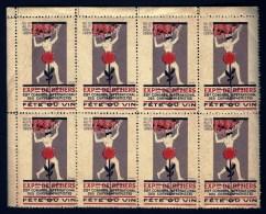 BLOC DE 8 VIGNETTES 29° CONGRES INTERNATIONAL DES CHRYSANTHÉMISTES- BÉZIERS 1929- FETE DU VIN- NEUF**- 2 SCANS - Erinnophilie