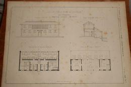 Plan D'un Lavoir Public Pour 14 Laveuses Avec 4  Baignoires. 1859 - Public Works