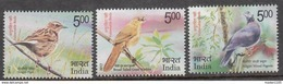 INDIA 2017, VULNERABLE BIRDS, Set  3v, Complete, Nilgiri Wood Pigeon,  Broad Tailed Warbler, Nilgiri Pipit MNH(** - Inde