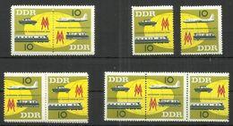 """DDR 976-77 Zd  """" 3 Zusammendrucke U. Satz Leipziger Herbstmesse 1963"""" Postfrisch Mi 7,80 - Se-Tenant"""