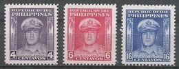 Philippines 1948. Scott #519-521 (MNH) General Douglas MacArthur - Philippines