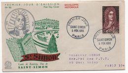 FDC  -Saint-Simon  - 5 Février 1955 - YT 1008 -  676 - - 1950-1959