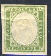 Sardegna, IV Em 1859 SA N. 13Be, C. 5 Verde Giallo Stampa Difettosa MH (leggera Piega) Cat. € 500 Firmato Biondi - Sardinia