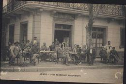 CPA Algérie Akbou Jean Scabello Propriétaire Vue Café Du Progrès Très Animée - Argelia