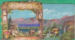 Chromo Théâtraliser - Carte à Système 3 D, Relief, Vue D'un Village - Au Labeur TH. Minot Dijon - Format: 17.2 X 9 Cm - Autres