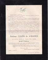 ZEELHEM NIEUWENHOVEN Baronne Isabelle WHETTNALL épouse ULLENS De SCHOOTEN  1868-1901 Doodsbrief - Avvisi Di Necrologio