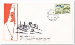 Israël 1967, Opening Day Of Israeli Post Office Nablus - FDC