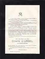 HINGENE Marc Jules Comte D'URSEL 1910-1935 Décédé Subitement - Avvisi Di Necrologio