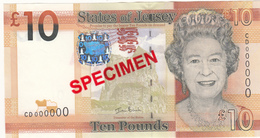 Jersey Banknote Ten Pound D Series, Specimen Overprint- Superb UNC Condition - Jersey