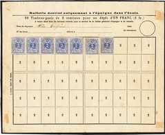 Spaarformulier Met 7 Zegels OCB 27 - Niet Gestempeld - Documents De La Poste