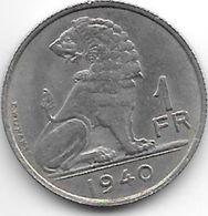 Belguim 1 Franc 1940 Dutch  Xf !!! - 1934-1945: Leopold III