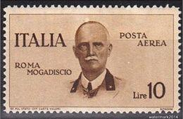 1934 Italie Airmail ROMA-MOGADISCIO Lit 10 - Sas 88   MVLH  * - 2  Scan - 1900-44 Victor Emmanuel III