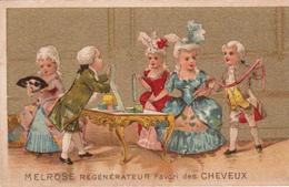 """CHROMO Publicitaire Publicité """"MELROSE"""" Régénérateur Des Cheveux Coiffeur Coiffure (2 Scans) - Chromos"""