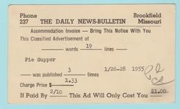 OM.5  USA Postal Stationery  Entier Postal : The Daily News Bulletin  Brookfield  Mo  31.1.1955 - 1941-60