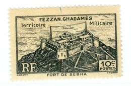 ITALIA, ITALY, FEZZAN-GHADAMES, OCCUPAZIONE FRANCESE, 1946, FRANCOBOLLO NUOVO (MLH*) 10 C.   Sass. 1 - Fezzan & Ghadames