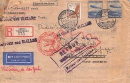 MiNr.533+606 Auf  Luftpostbeleg Brief  Gel.1936 Deutsches Reich - Allemagne
