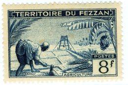 ITALIA, ITALY, FEZZAN, OCCUPAZIONE FRANCESE, 1951, FRANCOBOLLO NUOVO (MLH*) 8 F.   Sass. 34 - Fezzan & Ghadames