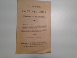 L'ORDRE ,de La Ste CROIX, Et Chapelets Des Croisiers, 1884 , Petit Fascicule - Religion & Esotérisme
