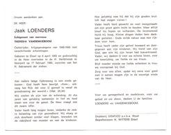 Devotie - Devotion - Jaak Loenders - Eksel 1902 - Neerpelt 1986 - Vandenkieboom - Oudstrijder - Obituary Notices