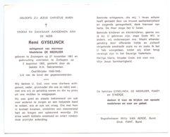 Devotie - Devotion - Remi Gyselinck - Zonnegem 1901 - Zottegem 1985 - De Meerleer - Oudstrijder - Obituary Notices