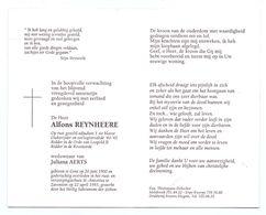 Devotie - Devotion - Alfons Reynheere - Gent 1900 - Zaventem 1993 - Aerts - Oudstrijder - Adjudant - Obituary Notices