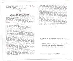 Devotie - Devotion - Albert De Spiegeleer - Vloerzegem 1915 - Overboelare - Oudstrijder - Avvisi Di Necrologio