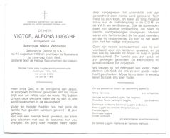 Devotie - Devotion - Victor Lugghe - Detroit 1909 - Roeselare 1986 - Vanneste - Oudstrijder - Firma Lugghe - Avvisi Di Necrologio