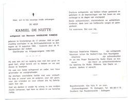 Devotie - Devotion - Kamiel De Nutte - Grotenberge 1904 - Zottegem 1984 - Ribbens - Oudstrijder - Avvisi Di Necrologio
