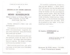 Devotie - Devotion - Henri Scheerlinck - Haaltert 1905 - Kerksken 1981 - Oudstrijder - Obituary Notices