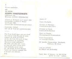 Devotie - Devotion - Joseph Vansteenkiste - Zerkegem 1906 - Brugge 1981 - Deschacht - Oudstrijder - Obituary Notices