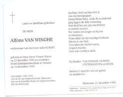Devotie - Devotion - Alfons Van Winghe - Onze-Lieve-Vrouw-Waver 1906 - Tremelo 1996 - Hubert - Oudstrijder - Obituary Notices