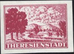 Timbre Du Ghetto De Theresienstadt Dentelé De Fortune Rose Donné Aux Visiteurs Croix Rouge Camp Tchécoslovaquie - Czechoslovakia