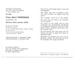 Devotie - Devotion - Frans Perremans - Boortmeerbeek 1906-1987 - Coen - Oudstrijder - Duivenmaatschappij De Windklievers - Obituary Notices