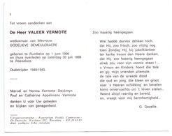 Devotie - Devotion - Valeer Vermote - Rumbeke 1906 - Roeselare 1988 - Demeulenaere - Oudstrijder - Obituary Notices