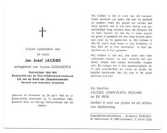 Devotie - Devotion - Jan Jacobs - Hombeek 1906 - 1984 - Goovaerts - Oudstrijder - Avvisi Di Necrologio