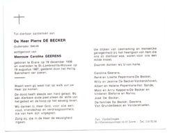 Devotie - Devotion - Pierre De Becker - Evere 1906 - Sint-Lambrechts-Woluwe 1987 - Geerens - Oudstrijder - Avvisi Di Necrologio