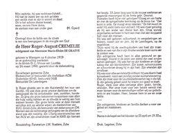Devotie - Devotion - Roger Cremelie - Waregem 1919 - 1990 - De Graeve - Schepen Zulte - Oudstrijder - Obituary Notices