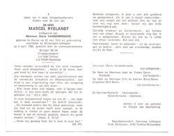 Devotie - Devotion - Marcel Ryelandt - Zarren 1914 - Wijnendale-Ichtegem 1986 - Vandenbroucke - Oudstrijder - Avvisi Di Necrologio