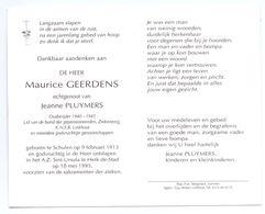 Devotie - Devotion - Maurice Geerdens - Schulen 1913 - Herk-de-Stad 1995 - Pluymers - Oudstrijder - Avvisi Di Necrologio