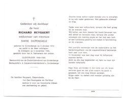 Devotie - Devotion - Richard Reygaert - Grotenberge 1913 - Zottegem 1995 - Diependaele - Oudstrijder - Obituary Notices