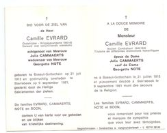 Devotie - Devotion - Camille Evrard - Bossut-Gottechain 1913 - Sterrebeek 1981 - Cammaerts - Note - Oudstrijder - Avvisi Di Necrologio